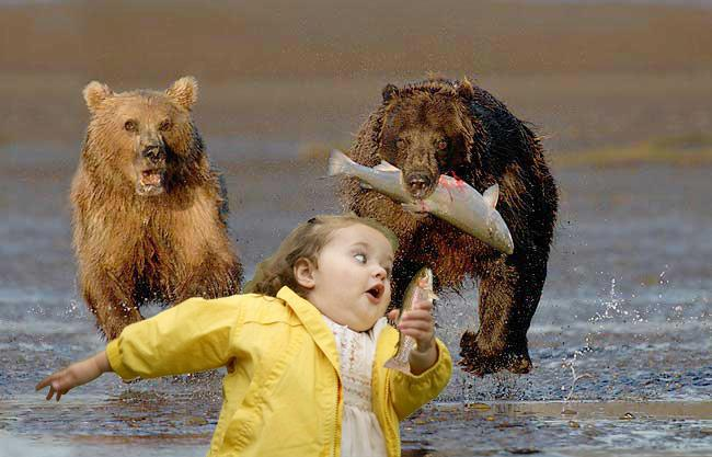 girl running bears